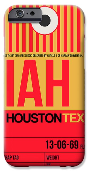 Town iPhone Cases - Houston Airport Poster 1 iPhone Case by Naxart Studio