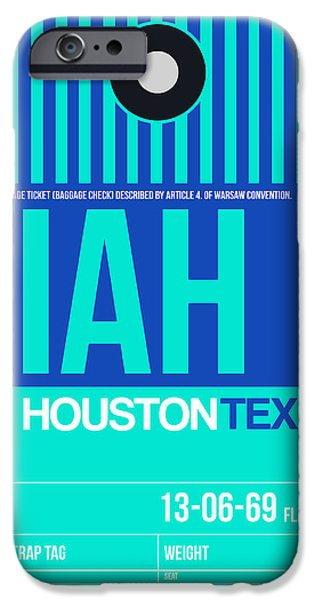 Town iPhone Cases - Houston Airport Poster 2 iPhone Case by Naxart Studio