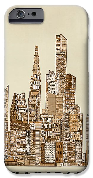City Scape iPhone Cases - Houston city vintage iPhone Case by Bri Buckley