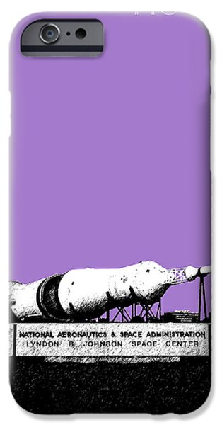 Pencil Sketch iPhone Cases - Houston Johnson Space Center - Violet iPhone Case by DB Artist