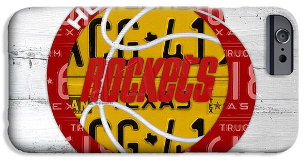Basketball Team iPhone Cases - Houston Rockets Basketball Team Retro Logo Vintage Recycled Texas License Plate Art iPhone Case by Design Turnpike