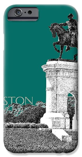 Pen And Ink iPhone Cases - Houston Sam Houston Monument - Sea Green iPhone Case by DB Artist