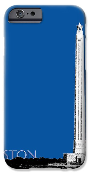 Pen And Ink iPhone Cases - Houston San Jacinto Monument - Royal Blue iPhone Case by DB Artist