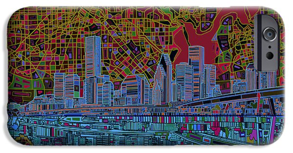 Modern Digital Digital Digital iPhone Cases - Houston Skyline Abstract 3 iPhone Case by MB Art factory