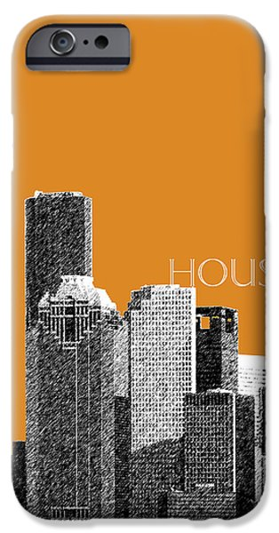 Pen And Ink Digital Art iPhone Cases - Houston Skyline - Dark Orange iPhone Case by DB Artist
