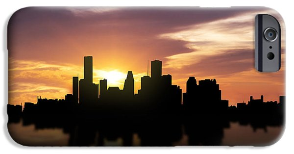 Downtown Mixed Media iPhone Cases - Houston Sunset Skyline  iPhone Case by Aged Pixel