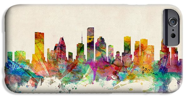 Watercolor iPhone Cases - Houston Texas Skyline iPhone Case by Michael Tompsett