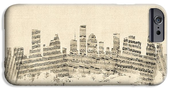 Sheets iPhone Cases - Houston Texas Skyline Sheet Music Cityscape iPhone Case by Michael Tompsett