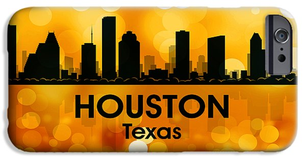 Buildings Mixed Media iPhone Cases - Houston TX 3 iPhone Case by Angelina Vick