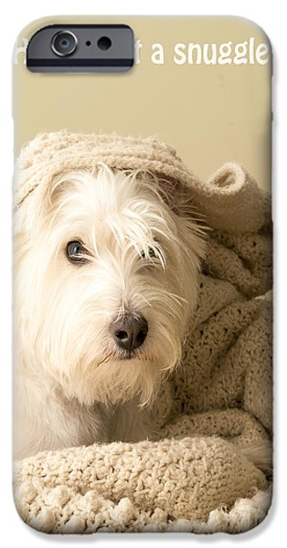 Cute Puppy Photographs iPhone Cases - How about a snuggle card iPhone Case by Edward Fielding