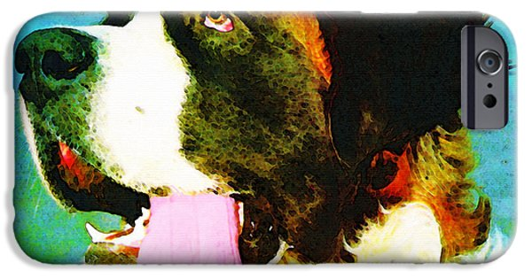 Veterinary iPhone Cases - How Bout A Kiss - St Bernard Art by Sharon Cummings iPhone Case by Sharon Cummings