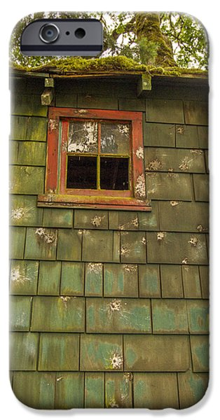 Cabin Window iPhone Cases - How did that get there iPhone Case by Jean Noren