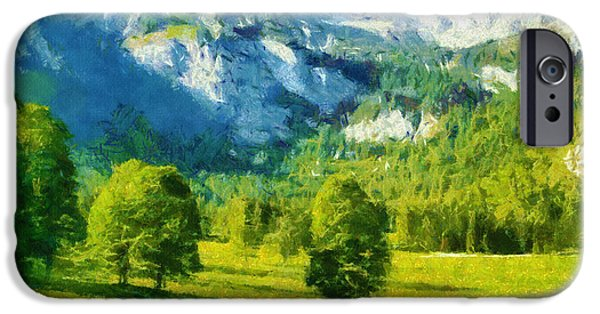 Mountain Digital Art iPhone Cases - How Green Was My Valley iPhone Case by Ayse Deniz