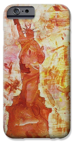 Statue Of Liberty Paintings iPhone Cases - How I Feel When I Smoke the Last Cigarette iPhone Case by Ryan Fox