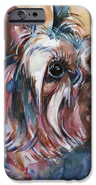 Yorkshire Terrier Art iPhone Cases - How Much Longer iPhone Case by Maria