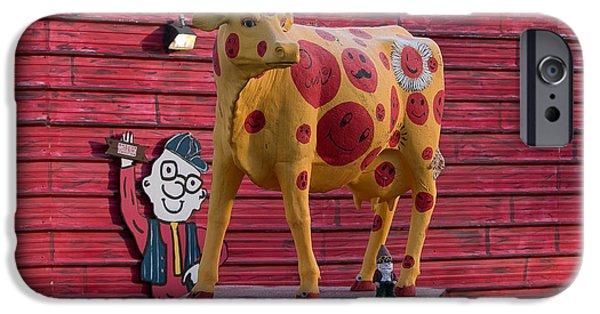 Cut-outs iPhone Cases - How Now Spotted Cow iPhone Case by E Faithe Lester