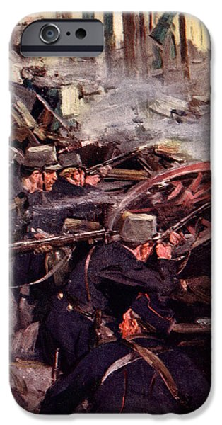 World War One Paintings iPhone Cases - How the Brave Belgians Held up the German Advance iPhone Case by Cyrus Cuneo