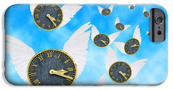 Clock iPhone Cases - How Time Flies iPhone Case by Juli Scalzi