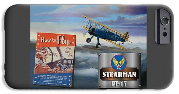 Aeronautics iPhone Cases - How To Fly Stearman PT-17 iPhone Case by Stuart Swartz