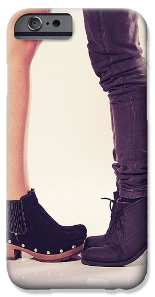 Women Together iPhone Cases - How to Kiss a Tall Girl iPhone Case by Carlos Caetano