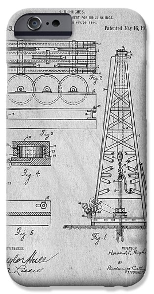 Business Drawings iPhone Cases - Howard Huges Drilling Rig Original Patent iPhone Case by Edward Fielding