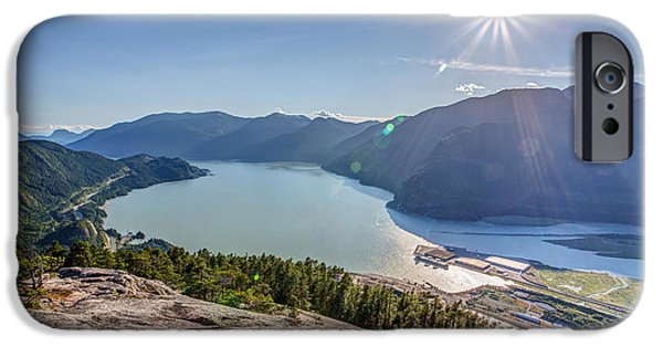 Kite Surfing iPhone Cases - Howe Sound from the Summit of the Stawamus Chief iPhone Case by Pierre Leclerc Photography