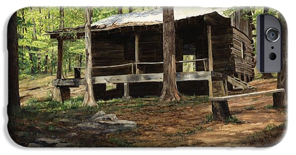 Log iPhone Cases - Howell Log Cabin - Hartshorn iPhone Case by Don  Langeneckert