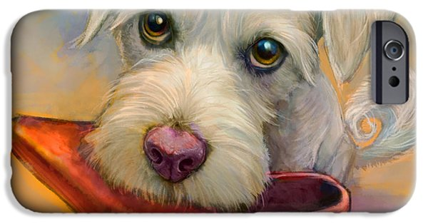 Dogs Paintings iPhone Cases - Howies Shoe iPhone Case by Sean ODaniels