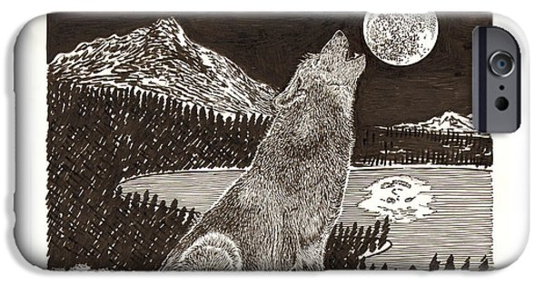 I Am Not iPhone Cases - Howling Coyote Full Moon Ho0wling iPhone Case by Jack Pumphrey