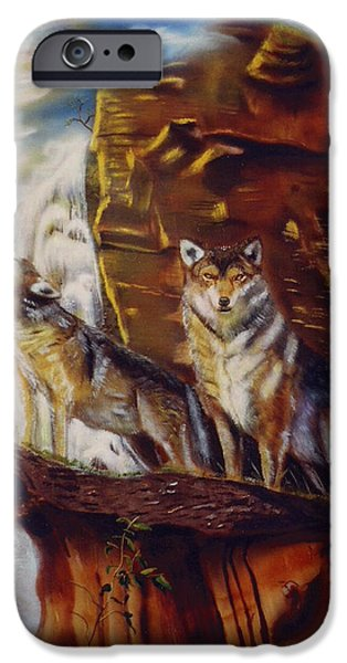 Arctic Wolf Mixed Media iPhone Cases - Howling for the Nightlife  iPhone Case by Thomas J Herring