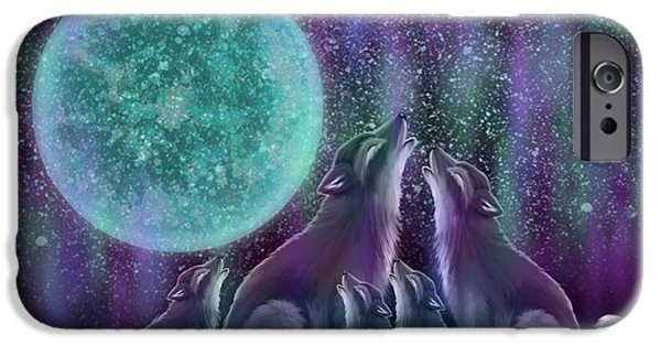 Wolf Digital Art iPhone Cases - Howling Together iPhone Case by Nick Gustafson
