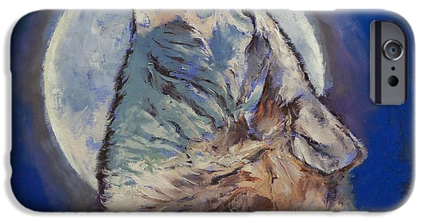 Michael Paintings iPhone Cases - Howling Wolf iPhone Case by Michael Creese