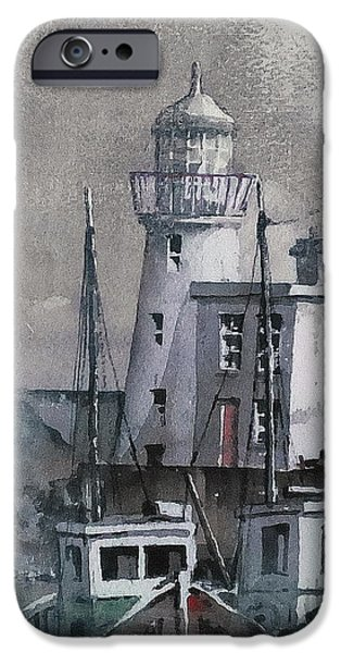 Lighthouse Mixed Media iPhone Cases - Howth Lighthouse Dublin iPhone Case by Val Byrne