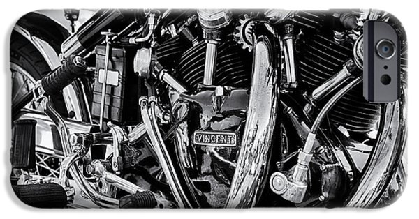 Monochrome iPhone Cases - HRD Vincent Motorcycle Engine iPhone Case by Tim Gainey