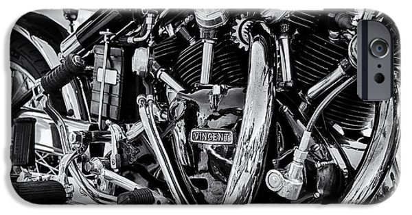 Culture iPhone Cases - HRD Vincent Motorcycle Engine iPhone Case by Tim Gainey