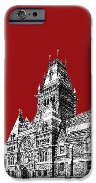 Pen And Ink Digital Art iPhone Cases - Harvard University - Memorial Hall - Dark Red iPhone Case by DB Artist