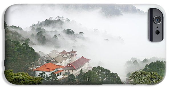 Fog iPhone Cases - Huangshan national park iPhone Case by King Wu