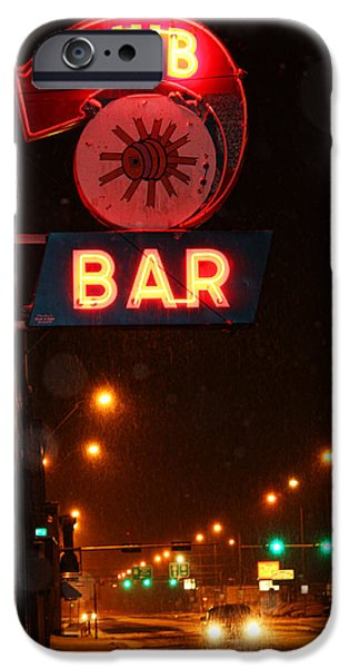 Snowy Night iPhone Cases - Hub Bar Snowy Night iPhone Case by Sylvia Thornton