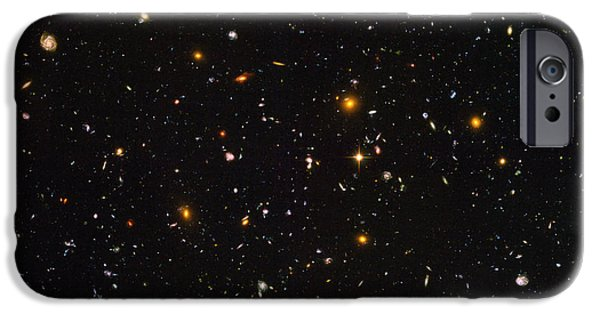 Heavenly Body iPhone Cases - Hubble Ultra Deep Field Galaxies iPhone Case by Science Source