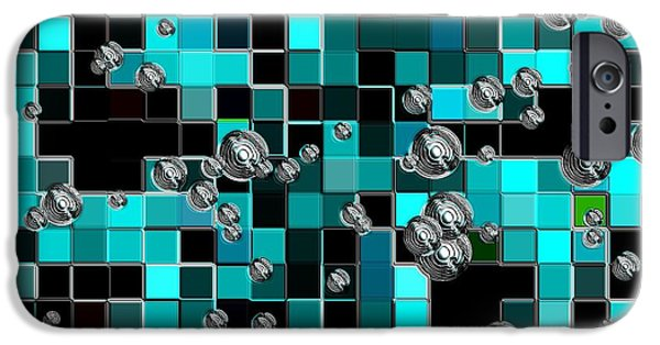 Silver Turquoise iPhone Cases - Hubcaps iPhone Case by Marsha Heiken
