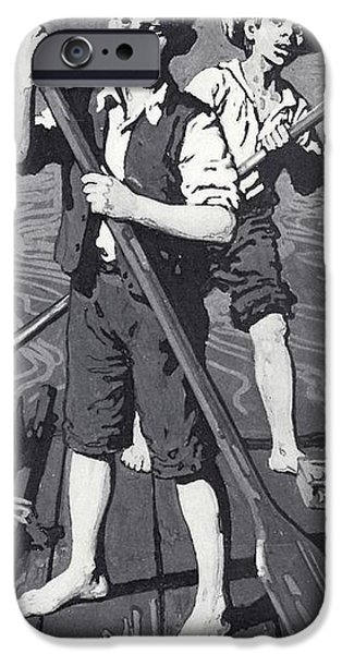 Raft iPhone Cases - Huckleberry Finn And Tom Sawyer Litho iPhone Case by English School