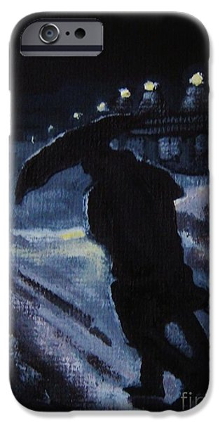 Winter Storm Paintings iPhone Cases - Huddling Through the Storm iPhone Case by John Malone
