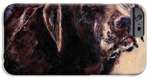 Chocolate Labrador Retriever Paintings iPhone Cases - Hudler iPhone Case by Molly Poole