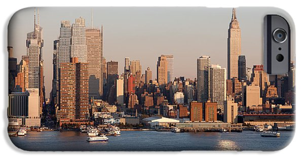 Hudson River iPhone Cases - Hudson River and Manhattan Skyline I iPhone Case by Clarence Holmes