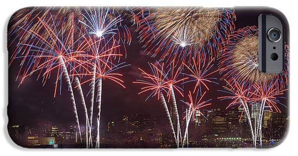 Fourth Of July iPhone Cases - Hudson River Fireworks VIII iPhone Case by Clarence Holmes