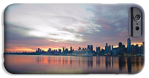 Hudson River Digital iPhone Cases - Hudson River Sunrise NYC iPhone Case by Bill Cannon