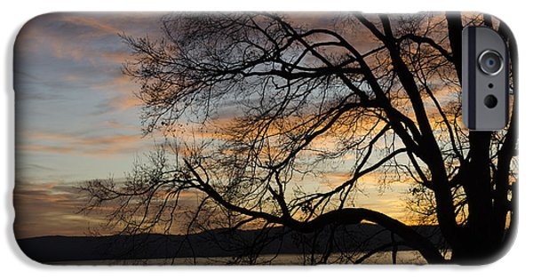 Hudson River iPhone Cases - Hudson River winter landscape at sunset iPhone Case by Marianne Campolongo