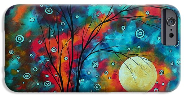 Moon iPhone Cases - Huge Colorful Abstract Landscape Art Circles Tree Original Painting DELIGHTFUL by MADART iPhone Case by Megan Duncanson