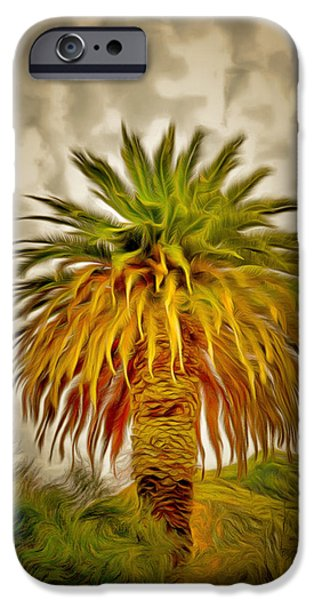 Cloudy Day Paintings iPhone Cases - Huge Palm Dark Skies iPhone Case by Barbara Snyder