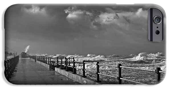Fury iPhone Cases - Huge waves crashing onto promenade iPhone Case by Ken Biggs